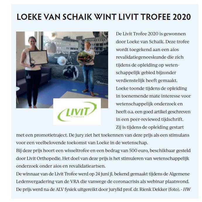 Livit trofee - artikel uit Nederlands Tijdschrift voor Revalidatiegeneeskunde